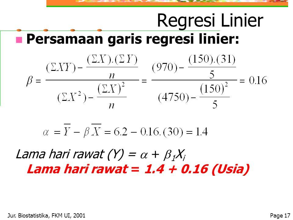 Jur. Biostatistika, FKM UI, 2001Page 17 Regresi Linier Persamaan garis regresi linier: Lama hari rawat (Y) =  +  1 X i Lama hari rawat = 1.4 + 0.16