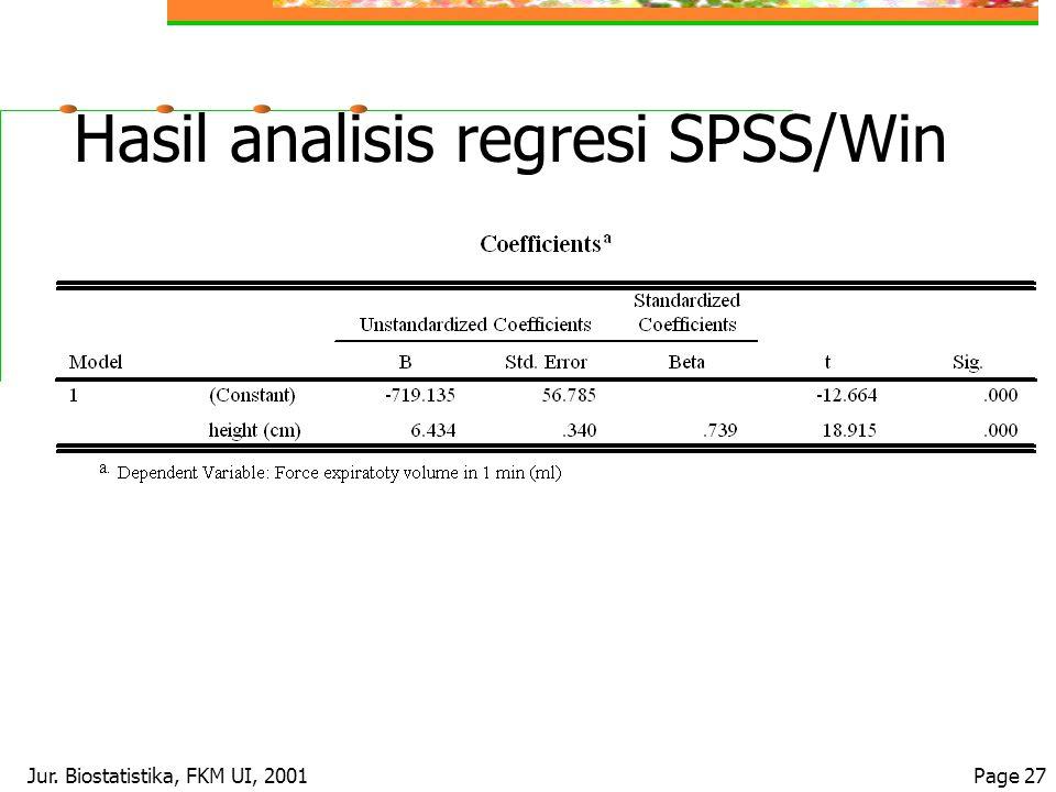 Jur. Biostatistika, FKM UI, 2001Page 27 Hasil analisis regresi SPSS/Win