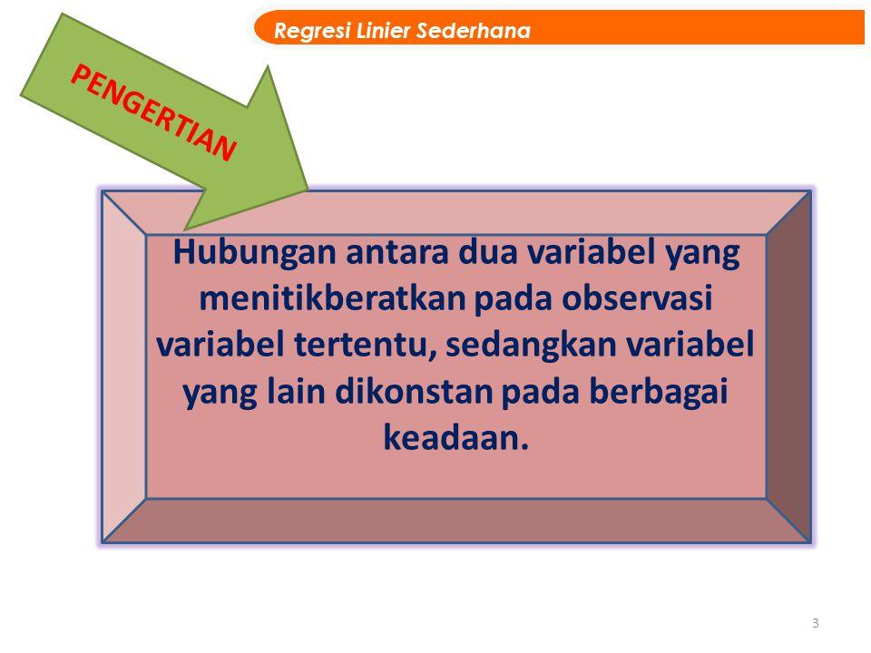 3 Hubungan antara dua variabel yang menitikberatkan pada observasi variabel tertentu, sedangkan variabel yang lain dikonstan pada berbagai keadaan. PE