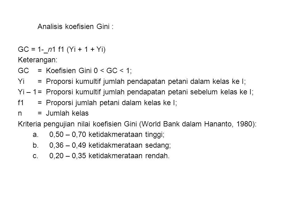 Analisis koefisien Gini : GC = 1-_n1 f1 (Yi + 1 + Yi) Keterangan: GC= Koefisien Gini 0 < GC < 1; Yi= Proporsi kumultif jumlah pendapatan petani dala