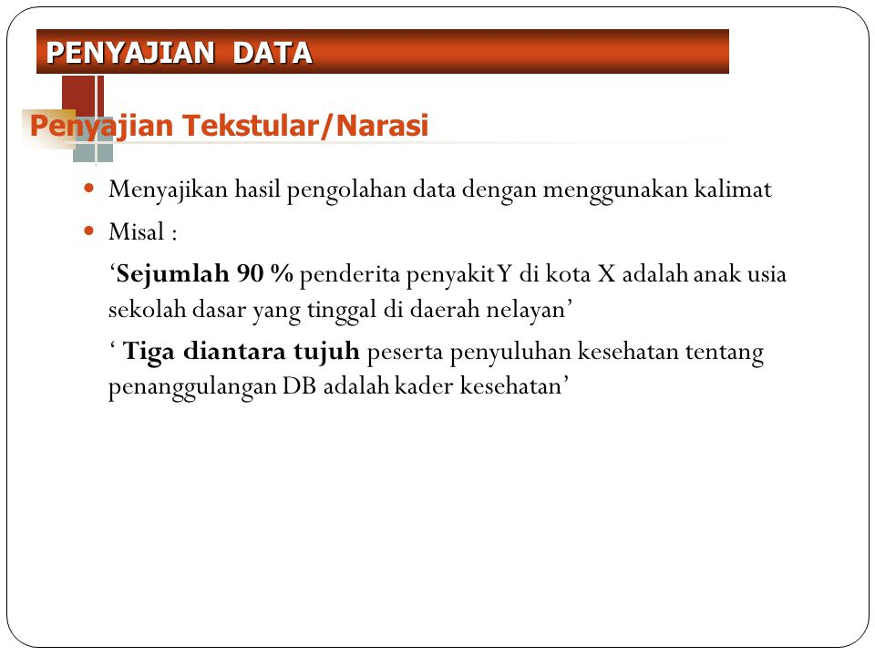 Menyajikan hasil pengolahan data dengan menggunakan tabel dari sederhana- kompleks Penyajian informasi dalam bentuk angka dengan menggunakan format baris dan kolom Penyajian Data Dalam bentuk Tabel frekuensi No Tabel Judul Tabel Jumlah Data (n=) Sumber data: KategoriFrekuensiPersentase PENYAJIAN DATA Penyajian Tabel