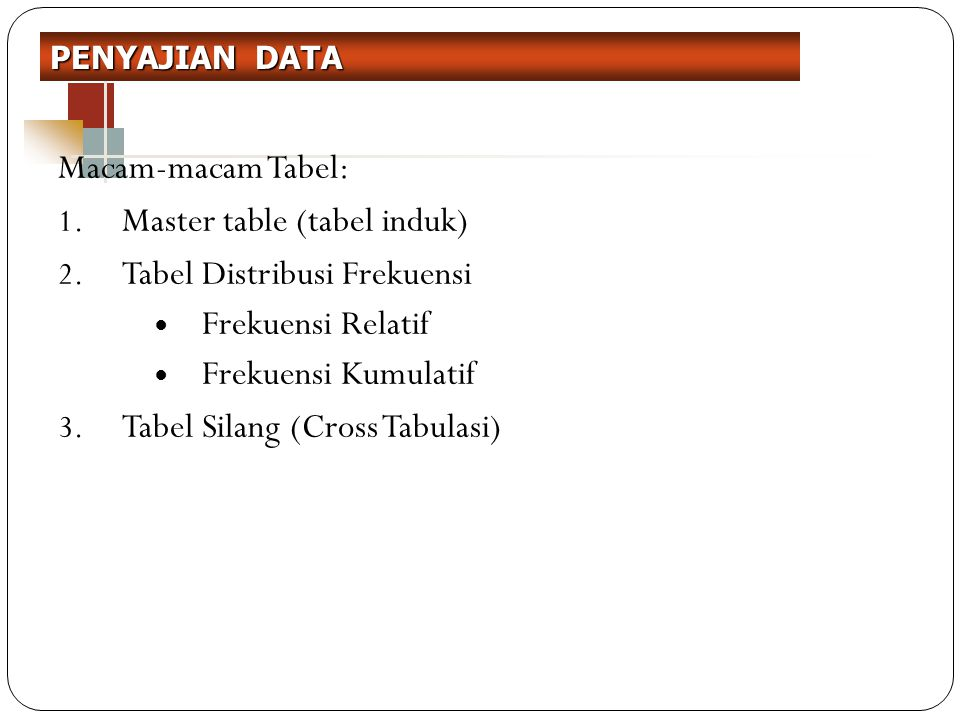 Macam-macam Tabel: 1.Master table (tabel induk) 2.