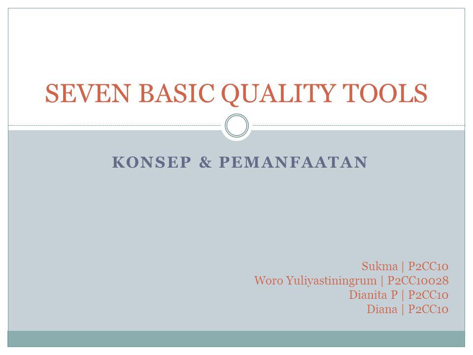 KONSEP & PEMANFAATAN SEVEN BASIC QUALITY TOOLS Sukma | P2CC10 Woro Yuliyastiningrum | P2CC10028 Dianita P | P2CC10 Diana | P2CC10