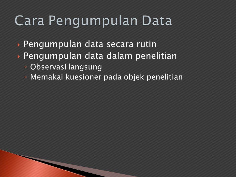  Pengumpulan data secara rutin  Pengumpulan data dalam penelitian ◦ Observasi langsung ◦ Memakai kuesioner pada objek penelitian