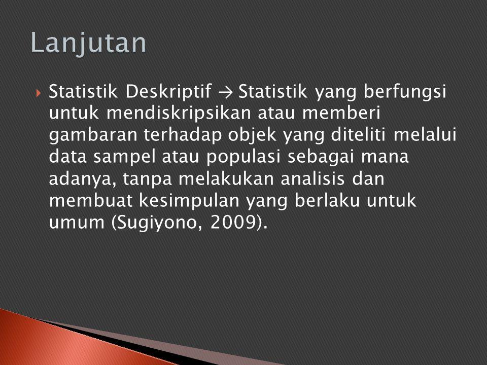  Statistik Deskriptif → Statistik yang berfungsi untuk mendiskripsikan atau memberi gambaran terhadap objek yang diteliti melalui data sampel atau po