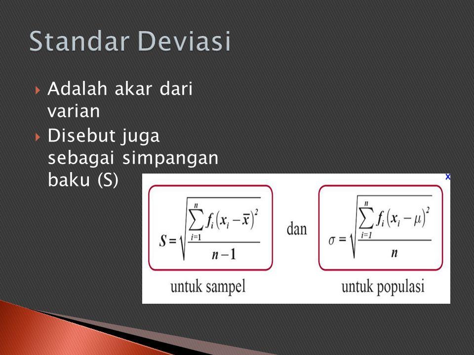 Adalah akar dari varian  Disebut juga sebagai simpangan baku (S)