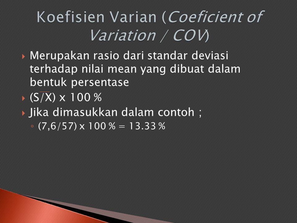  Merupakan rasio dari standar deviasi terhadap nilai mean yang dibuat dalam bentuk persentase  (S/X) x 100 %  Jika dimasukkan dalam contoh ; ◦ (7,6