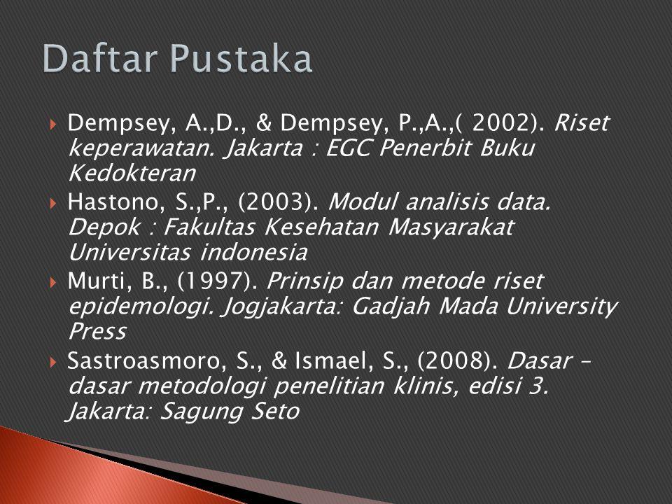  Dempsey, A.,D., & Dempsey, P.,A.,( 2002). Riset keperawatan. Jakarta : EGC Penerbit Buku Kedokteran  Hastono, S.,P., (2003). Modul analisis data. D