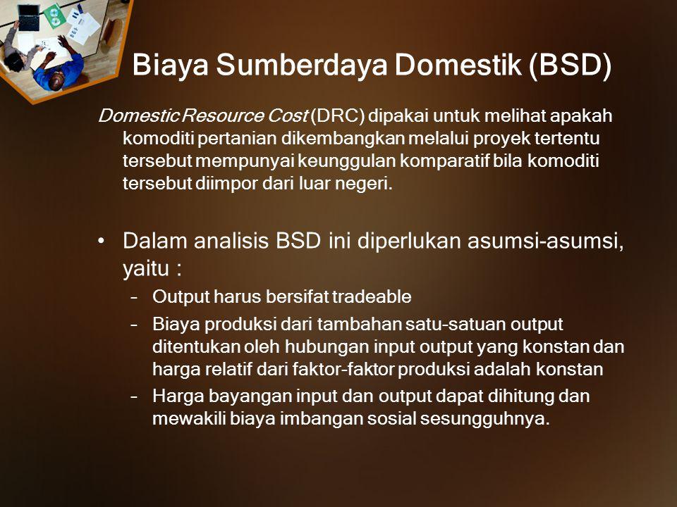 Biaya Sumberdaya Domestik (BSD) Domestic Resource Cost (DRC) dipakai untuk melihat apakah komoditi pertanian dikembangkan melalui proyek tertentu ters