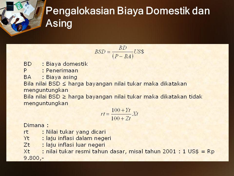Pengalokasian Biaya Domestik dan Asing