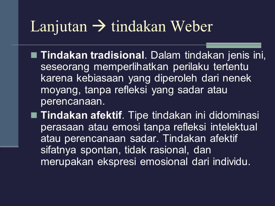 Lanjutan  tindakan Weber Tindakan tradisional. Dalam tindakan jenis ini, seseorang memperlihatkan perilaku tertentu karena kebiasaan yang diperoleh d