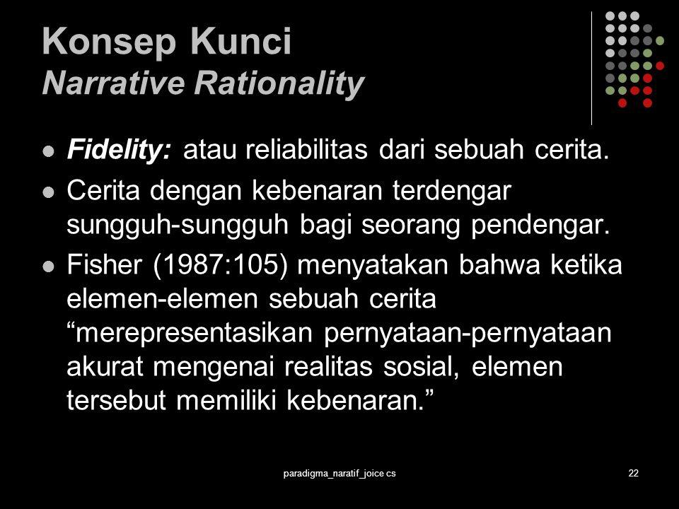 paradigma_naratif_joice cs22 Konsep Kunci Narrative Rationality Fidelity: atau reliabilitas dari sebuah cerita.