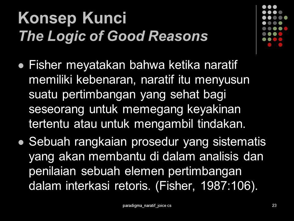 paradigma_naratif_joice cs23 Konsep Kunci The Logic of Good Reasons Fisher meyatakan bahwa ketika naratif memiliki kebenaran, naratif itu menyusun suatu pertimbangan yang sehat bagi seseorang untuk memegang keyakinan tertentu atau untuk mengambil tindakan.