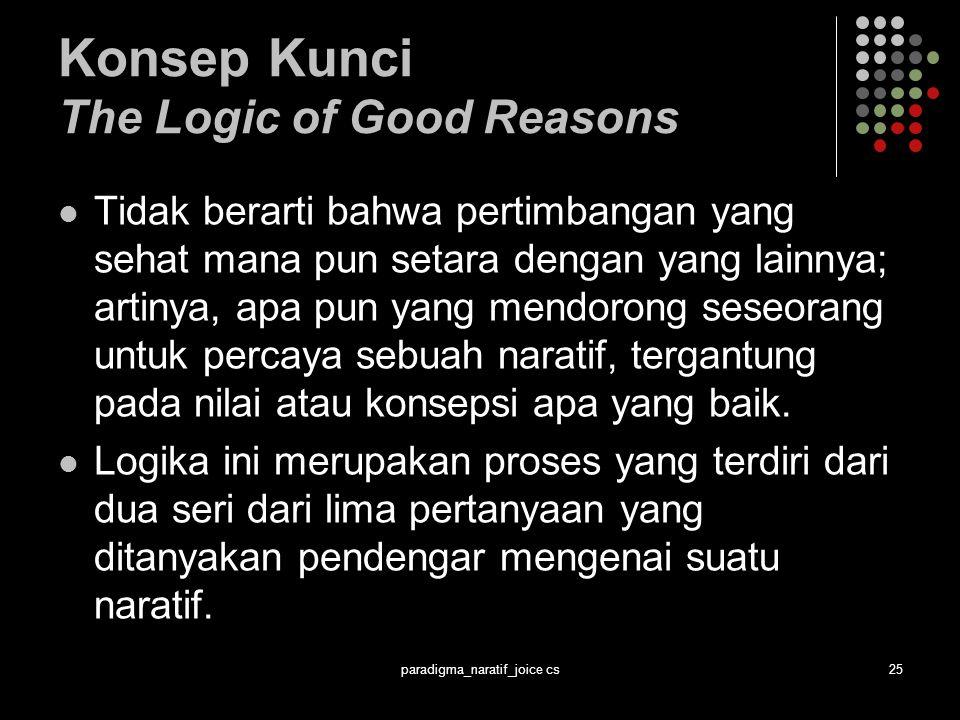 paradigma_naratif_joice cs25 Konsep Kunci The Logic of Good Reasons Tidak berarti bahwa pertimbangan yang sehat mana pun setara dengan yang lainnya; artinya, apa pun yang mendorong seseorang untuk percaya sebuah naratif, tergantung pada nilai atau konsepsi apa yang baik.