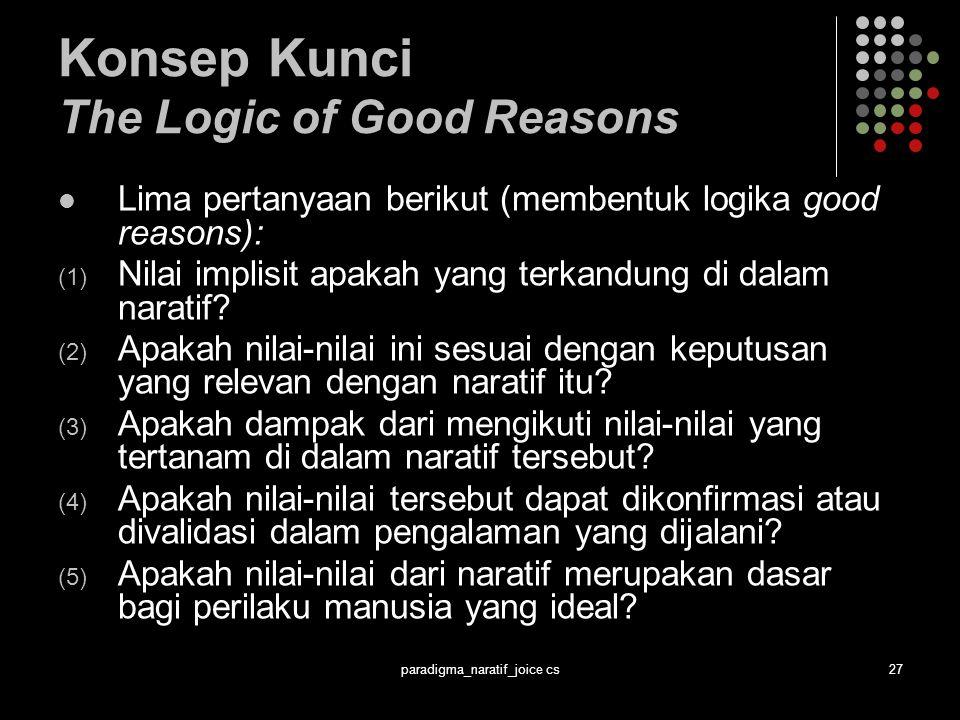 paradigma_naratif_joice cs27 Konsep Kunci The Logic of Good Reasons Lima pertanyaan berikut (membentuk logika good reasons): (1) Nilai implisit apakah yang terkandung di dalam naratif.