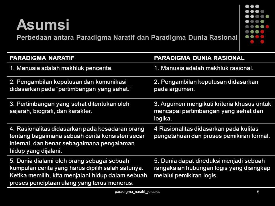 paradigma_naratif_joice cs9 Asumsi Perbedaan antara Paradigma Naratif dan Paradigma Dunia Rasional PARADIGMA NARATIFPARADIGMA DUNIA RASIONAL 1.