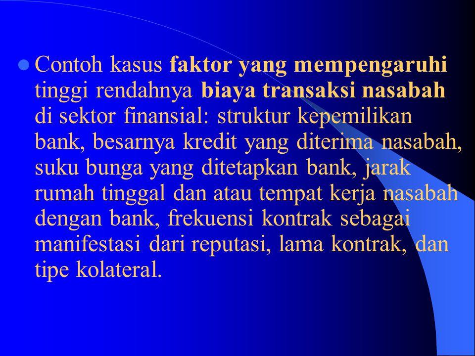 Contoh kasus faktor yang mempengaruhi tinggi rendahnya biaya transaksi nasabah di sektor finansial: struktur kepemilikan bank, besarnya kredit yang di