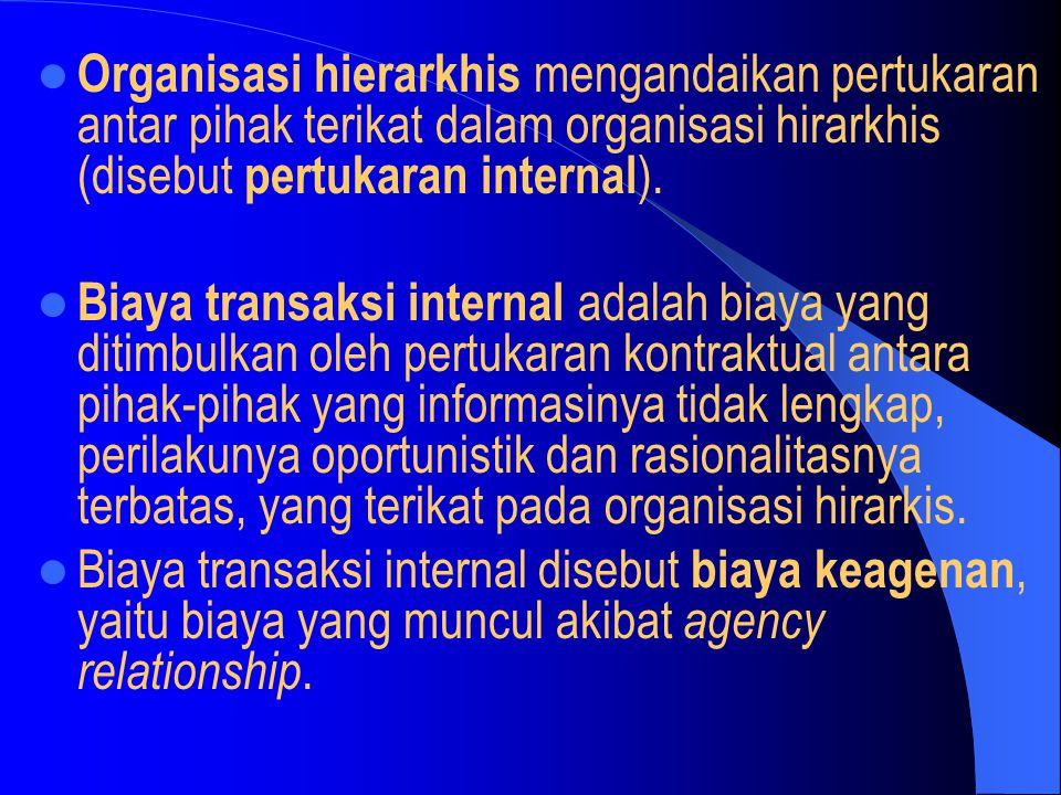 Organisasi hierarkhis mengandaikan pertukaran antar pihak terikat dalam organisasi hirarkhis (disebut pertukaran internal ). Biaya transaksi internal
