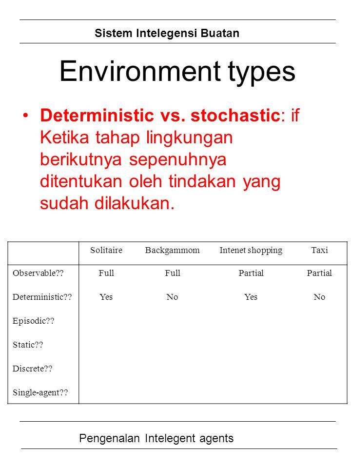 Sistem Intelegensi Buatan Pengenalan Intelegent agents Deterministic vs. stochastic: if Ketika tahap lingkungan berikutnya sepenuhnya ditentukan oleh