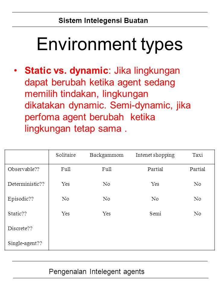 Sistem Intelegensi Buatan Pengenalan Intelegent agents Static vs. dynamic: Jika lingkungan dapat berubah ketika agent sedang memilih tindakan, lingkun