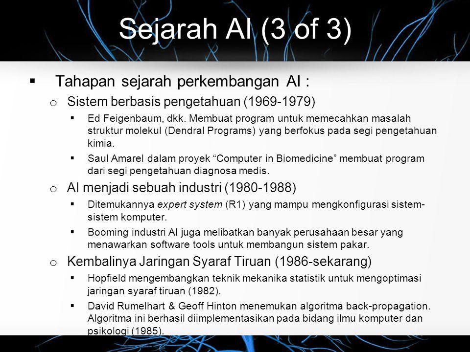 Sejarah AI (3 of 3)  Tahapan sejarah perkembangan AI : o Sistem berbasis pengetahuan (1969-1979)  Ed Feigenbaum, dkk. Membuat program untuk memecahk