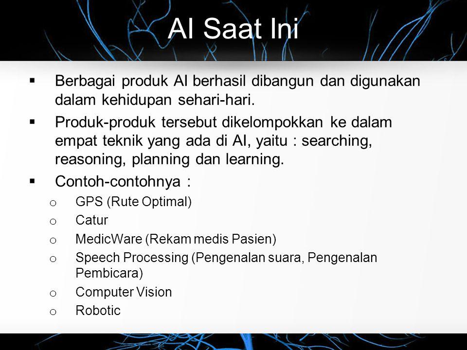 AI Saat Ini  Berbagai produk AI berhasil dibangun dan digunakan dalam kehidupan sehari-hari.  Produk-produk tersebut dikelompokkan ke dalam empat te