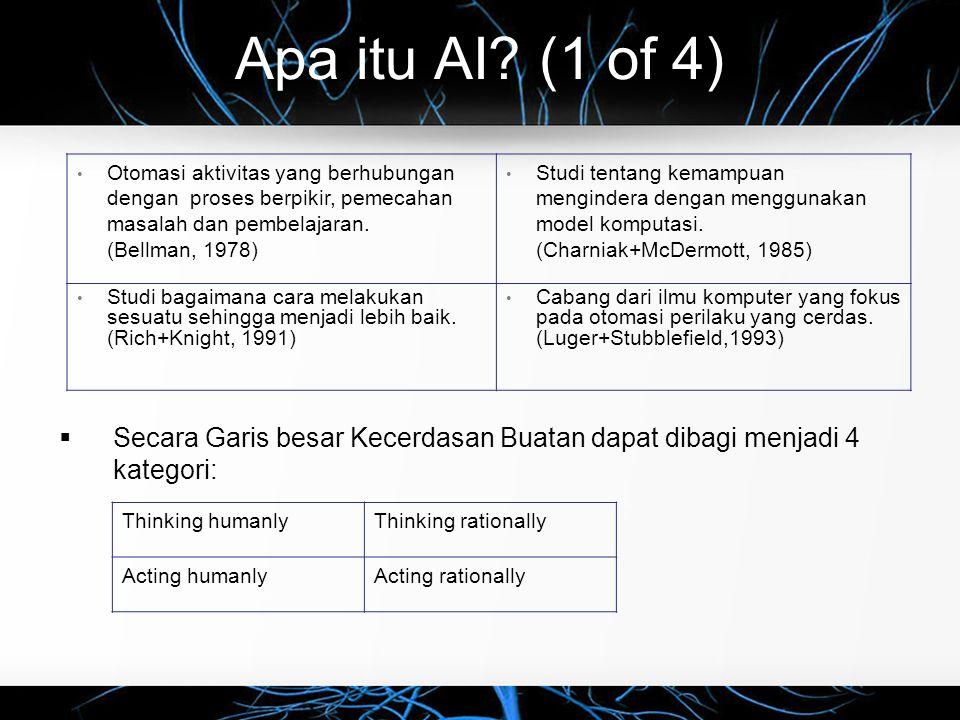 Apa itu AI? (1 of 4)  Secara Garis besar Kecerdasan Buatan dapat dibagi menjadi 4 kategori: Otomasi aktivitas yang berhubungan dengan proses berpikir