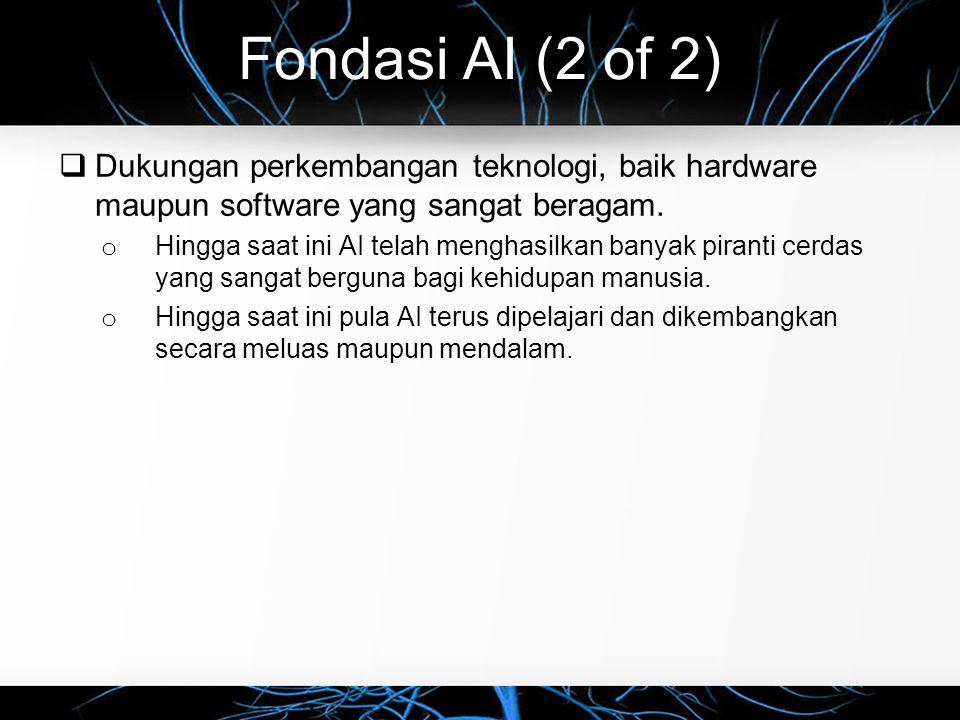 Fondasi AI (2 of 2)  Dukungan perkembangan teknologi, baik hardware maupun software yang sangat beragam. o Hingga saat ini AI telah menghasilkan bany