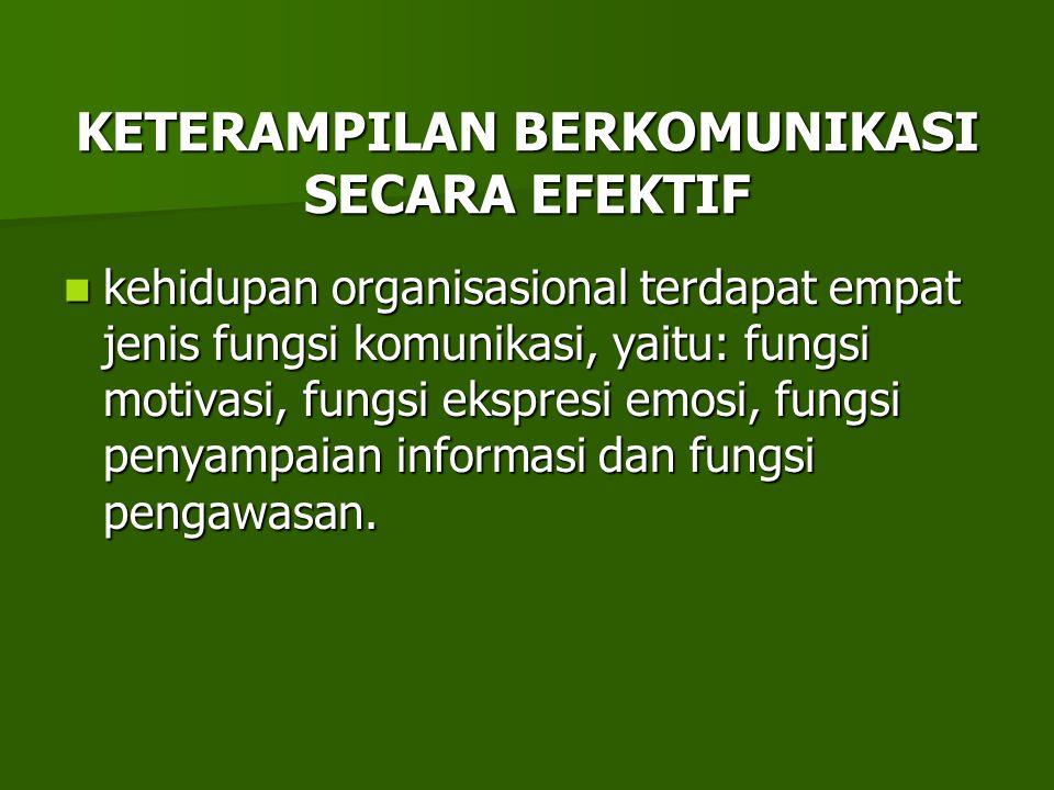 KETERAMPILAN BERKOMUNIKASI SECARA EFEKTIF kehidupan organisasional terdapat empat jenis fungsi komunikasi, yaitu: fungsi motivasi, fungsi ekspresi emo