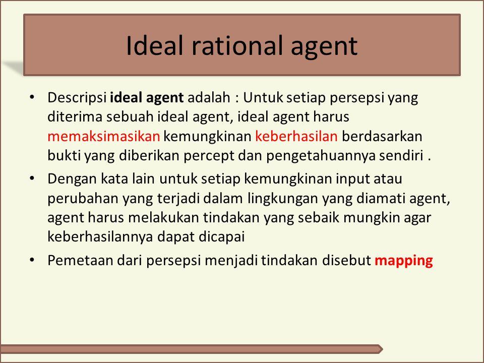 Ideal rational agent Descripsi ideal agent adalah : Untuk setiap persepsi yang diterima sebuah ideal agent, ideal agent harus memaksimasikan kemungkin