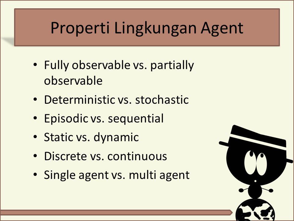Properti Lingkungan Agent Fully observable vs. partially observable Deterministic vs. stochastic Episodic vs. sequential Static vs. dynamic Discrete v