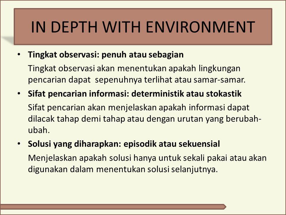 IN DEPTH WITH ENVIRONMENT Tingkat observasi: penuh atau sebagian Tingkat observasi akan menentukan apakah lingkungan pencarian dapat sepenuhnya terlih