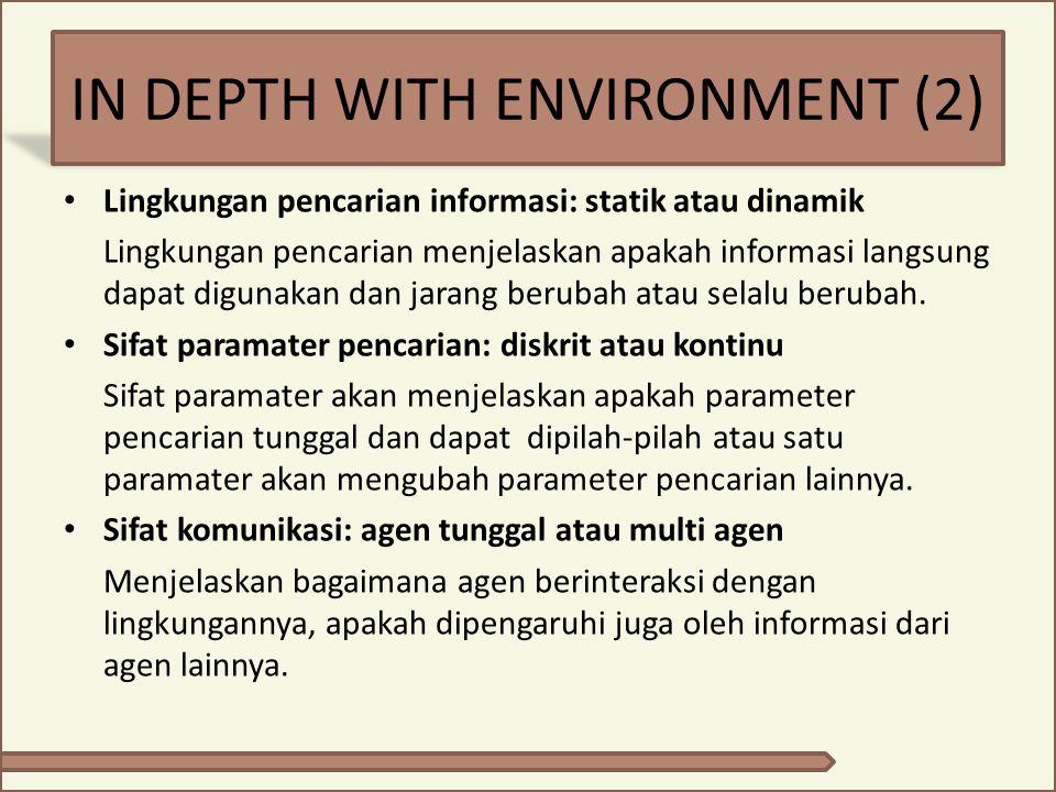 IN DEPTH WITH ENVIRONMENT (2) Lingkungan pencarian informasi: statik atau dinamik Lingkungan pencarian menjelaskan apakah informasi langsung dapat dig