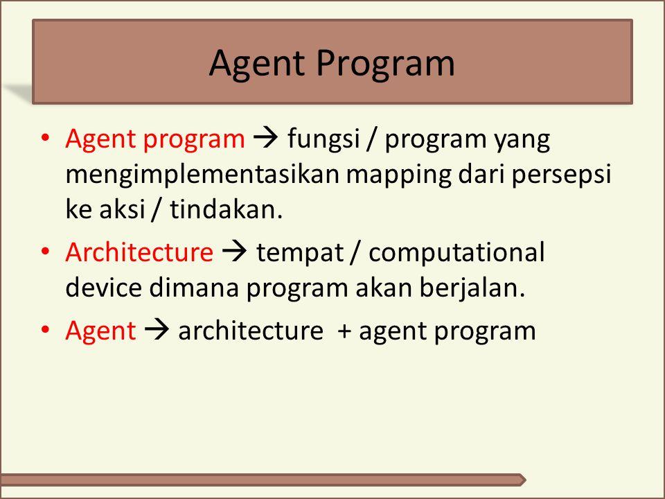 Agent Program Agent program  fungsi / program yang mengimplementasikan mapping dari persepsi ke aksi / tindakan. Architecture  tempat / computationa