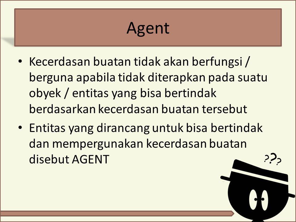 AGENT : formal definition Agent  suatu entitas yang menerima input dari lingkungannya (persepsi) dan bertindak (aksi) sesuai dengan pengetahuan yang dimilikinya Atau secara abstrak, agent merupakan suatu fungsi dari persepsi menjadi aksi