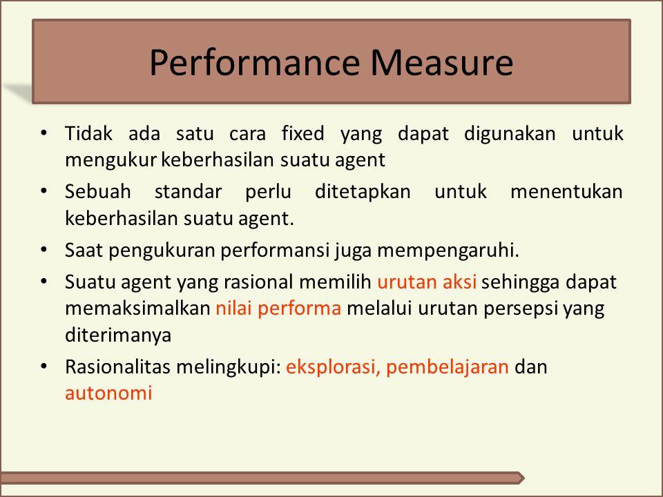 Performance Measure Tidak ada satu cara fixed yang dapat digunakan untuk mengukur keberhasilan suatu agent Sebuah standar perlu ditetapkan untuk menen
