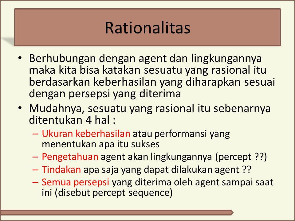 Ideal rational agent Descripsi ideal agent adalah : Untuk setiap persepsi yang diterima sebuah ideal agent, ideal agent harus memaksimasikan kemungkinan keberhasilan berdasarkan bukti yang diberikan percept dan pengetahuannya sendiri.