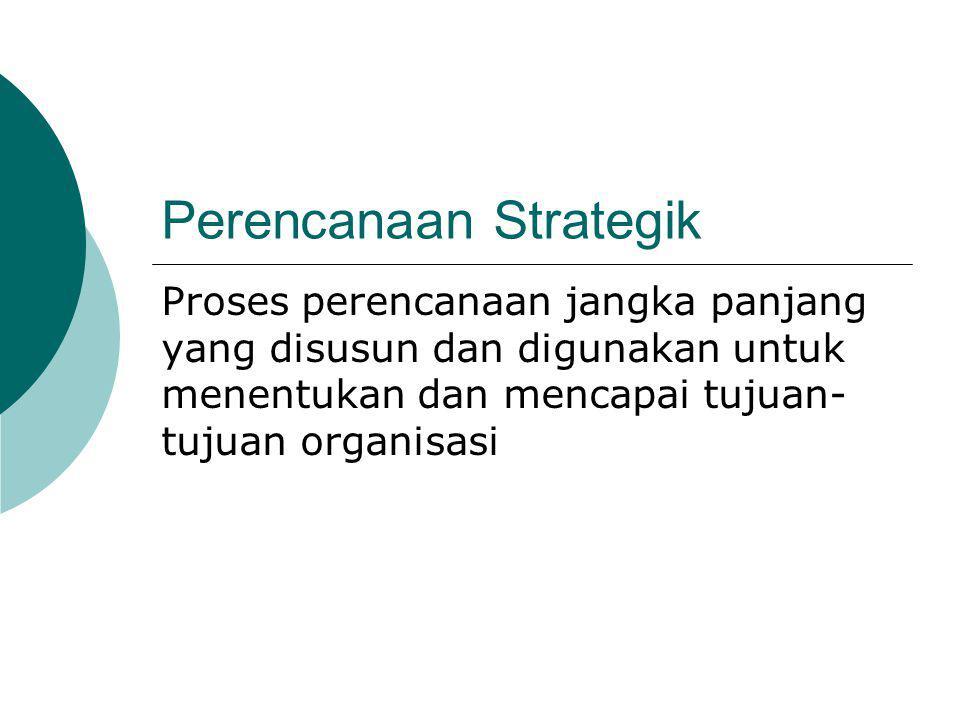 Perencanaan Strategik Proses perencanaan jangka panjang yang disusun dan digunakan untuk menentukan dan mencapai tujuan- tujuan organisasi
