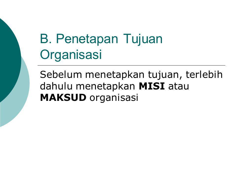 B. Penetapan Tujuan Organisasi Sebelum menetapkan tujuan, terlebih dahulu menetapkan MISI atau MAKSUD organisasi