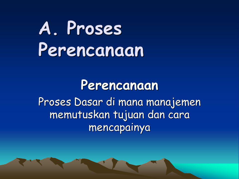 A. Proses Perencanaan Perencanaan Proses Dasar di mana manajemen memutuskan tujuan dan cara mencapainya