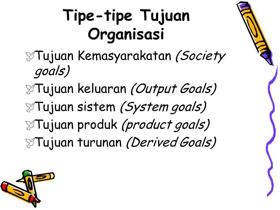 Tipe-tipe Tujuan Organisasi  Tujuan Kemasyarakatan (Society goals)  Tujuan keluaran (Output Goals)  Tujuan sistem (System goals)  Tujuan produk (p
