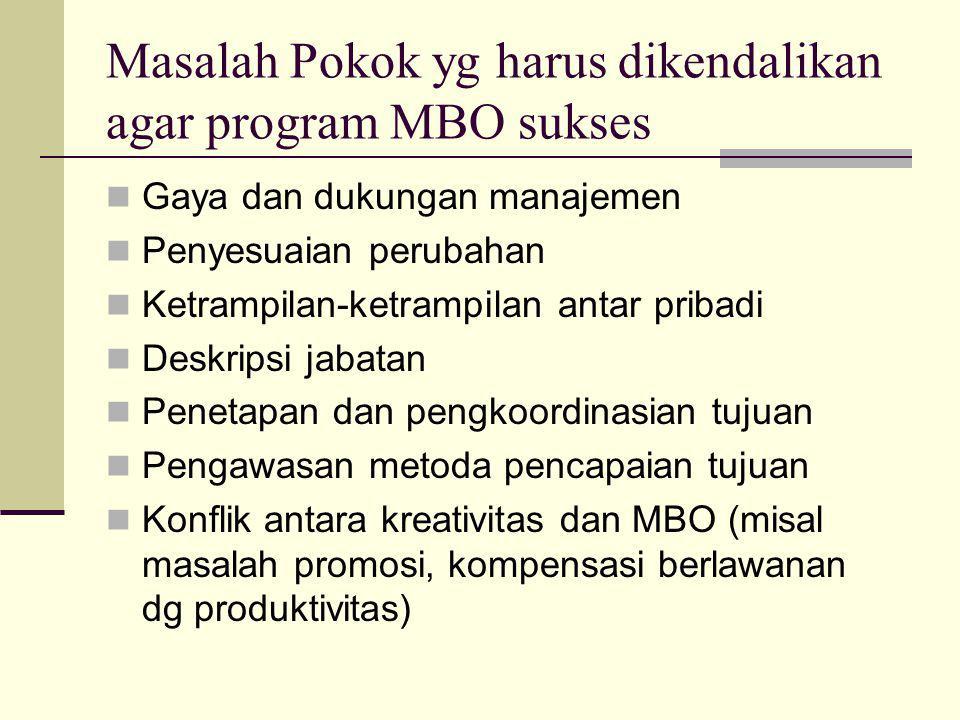 Masalah Pokok yg harus dikendalikan agar program MBO sukses Gaya dan dukungan manajemen Penyesuaian perubahan Ketrampilan-ketrampilan antar pribadi De