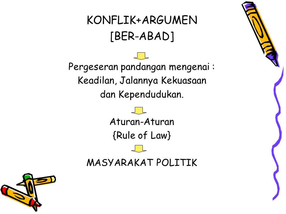 KONFLIK+ARGUMEN [BER-ABAD] Pergeseran pandangan mengenai : Keadilan, Jalannya Kekuasaan dan Kependudukan. Aturan-Aturan {Rule of Law} MASYARAKAT POLIT