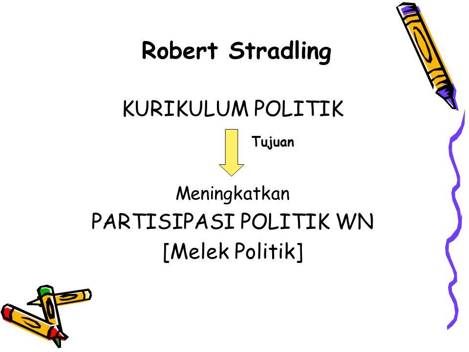 Robert Stradling KURIKULUM POLITIK Tujuan Meningkatkan PARTISIPASI POLITIK WN [Melek Politik]