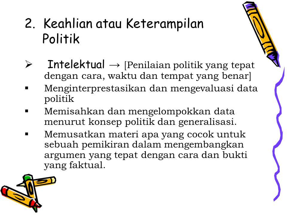 2. Keahlian atau Keterampilan Politik  Intelektual → [Penilaian politik yang tepat dengan cara, waktu dan tempat yang benar]  Menginterprestasikan d