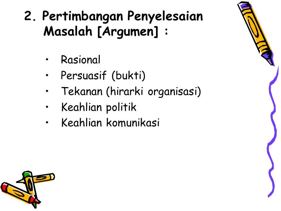 2. Pertimbangan Penyelesaian Masalah [Argumen] : Rasional Persuasif (bukti) Tekanan (hirarki organisasi) Keahlian politik Keahlian komunikasi