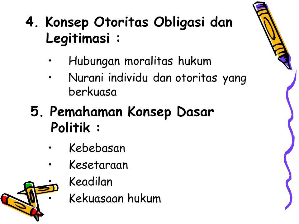 4. Konsep Otoritas Obligasi dan Legitimasi : Hubungan moralitas hukum Nurani individu dan otoritas yang berkuasa 5. Pemahaman Konsep Dasar Politik : K