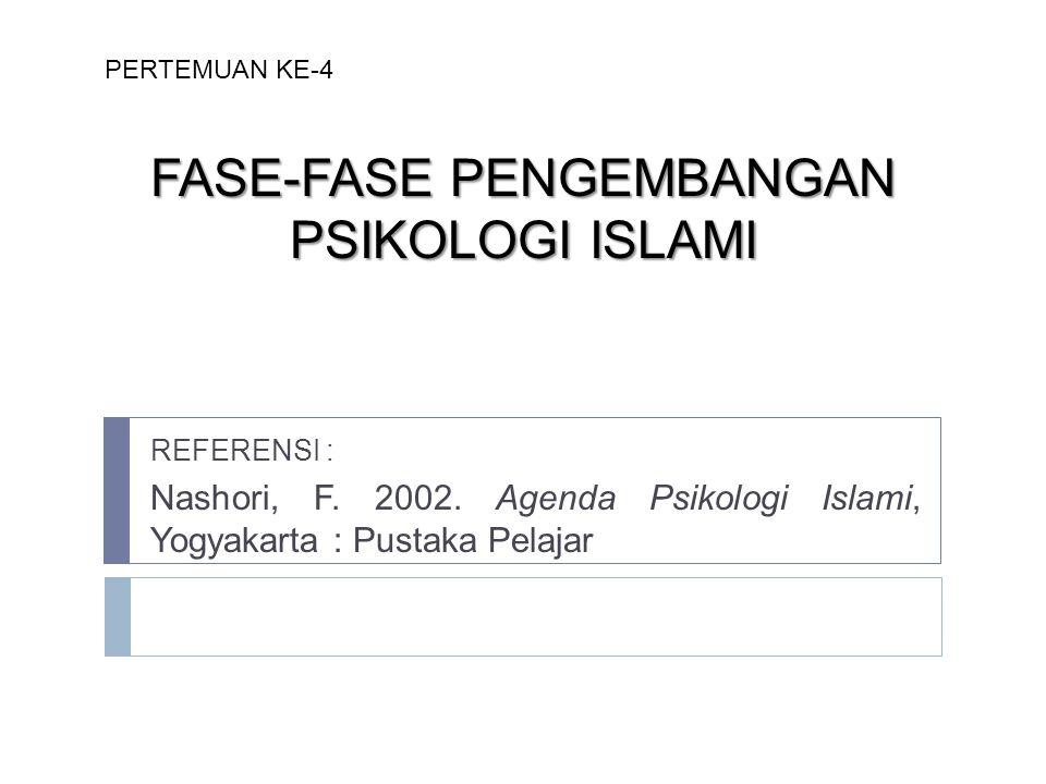 FASE-FASE PENGEMBANGAN PSIKOLOGI ISLAMI REFERENSI : Nashori, F. 2002. Agenda Psikologi Islami, Yogyakarta : Pustaka Pelajar PERTEMUAN KE-4