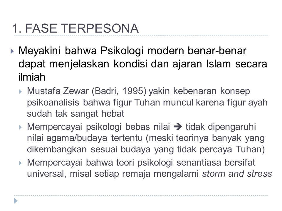 1. FASE TERPESONA  Meyakini bahwa Psikologi modern benar-benar dapat menjelaskan kondisi dan ajaran Islam secara ilmiah  Mustafa Zewar (Badri, 1995)