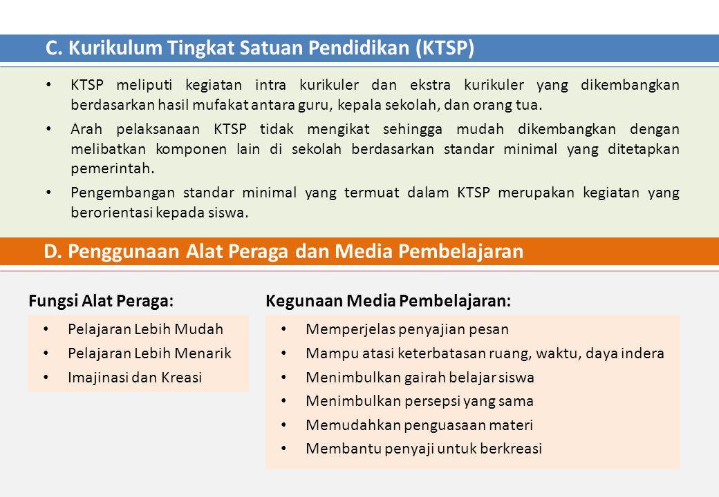 C. Kurikulum Tingkat Satuan Pendidikan (KTSP) KTSP meliputi kegiatan intra kurikuler dan ekstra kurikuler yang dikembangkan berdasarkan hasil mufakat